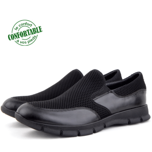 Baskets Médicales Pour Homme Cuir/Tissu EXTRA Confortable   AR-4659N