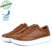 Baskets Homme Médicales 100% Cuir EXTRA Confortable Tabac NJ-5074T