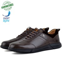Baskets Homme Médicales 100% Cuir EXTRA Confortable Marron NJ-6008M