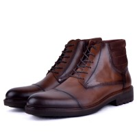 Boots confortable 100% cuir tabac XM-240T
