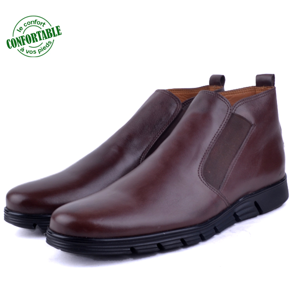 Bottine confortable en Cuir Crust marron LO-655-M