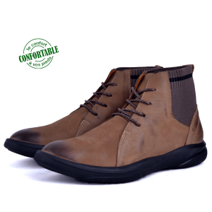 Boots confortable 100% cuir Tabac  KW-760T