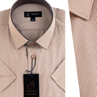 Chemise Pour Homme  Manches Courtes Beige OR-077