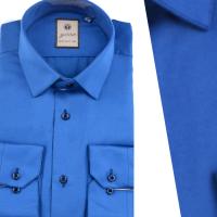 Chemise Pour Homme Manches Longues Bleu Roi OR-082