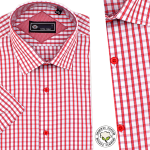 Chemise Pour Homme Manches Courtes - Rayures Rouges -CH-89