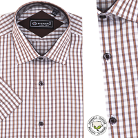 Chemise Pour Homme Manches Courtes - Rayures Beiges -CH-90