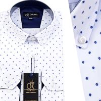 Chemise Pour Homme manches Longues Blanche avec Motifs OR-060