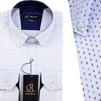 Chemise Pour Homme manches Longues Blanche avec Motifs OR-061