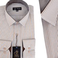 Chemise Pour Homme manches Longues Rayures Beiges OR-054