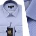 Chemise Pour Homme manches Longues avec Rayures Bleu ciel OR-068