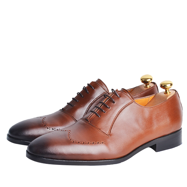 Chaussure Richelieu en cuir Tabac HM-T0011