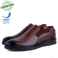 Chaussures Médicales confortables 100% cuir Marron LO-084MW