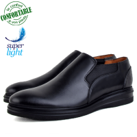 Chaussures 100% Cuir CRUST Pour Homme extra confortable Noire LO-084NW