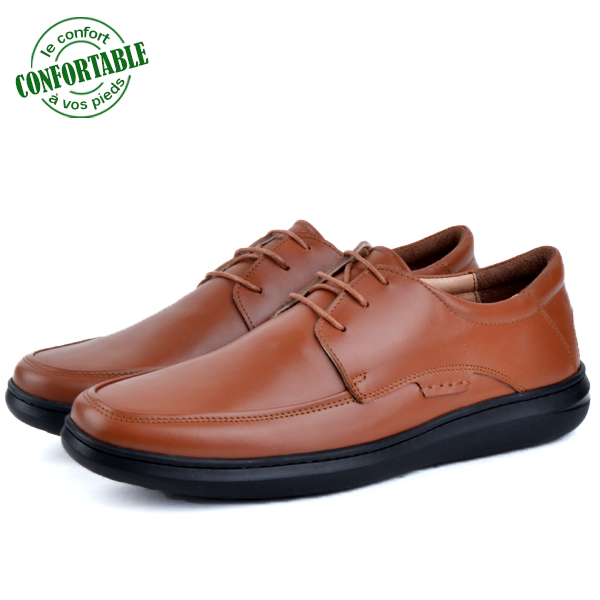 Chaussure  100% Cuir Médical Tabac SM-311-T