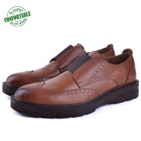 Chaussures extra confortable en cuir tabac HM-075T