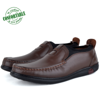 Mocassin confortable 100% Cuir Marron NJ-2198M