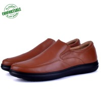 Chaussure  100% Cuir Médical Tabac SM-304-T