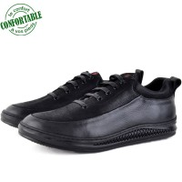 Basckets Chaussures Médicales Pour Homme 100% Cuir EXTRA Confortable Noir  KW-780N