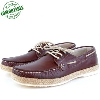 Mocassins confortables 100% cuir Marron  KW-009CM