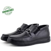 Chaussures Médicales demi bottes Confortable100% Cuir Noir KW-311NW