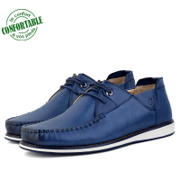 Mocassins confortables 100% Cuir Bleu NJ-3026B
