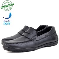 Mocassins confortables 100% cuir Noir NJ-057N