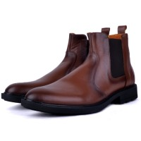 Boots Pour Homme extra confortable en cuir tabac AD-1140T