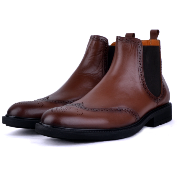 Boots Pour Homme extra confortable en cuir tabac AD-1142T