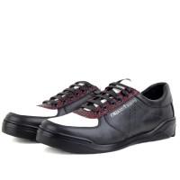Baskets Pour Homme 100% Cuir extra confortable Noir kw-801-Nb
