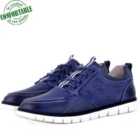 Basket confortable 100% Cuir bleu KW-770B