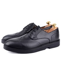 Derby richelieu en cuir Noir- Semelle Extra-light confortable AM-098