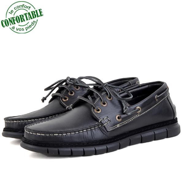 Chaussure Bateau Confortable en Cuir KW-010CNW