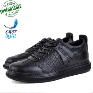 Baskets 100% Cuir extra confortable Noir KW-310N