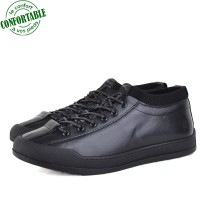 Baskets  100% Cuir extra confortable Noir KW-731N