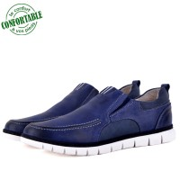 Basket confortable 100% Cuir Bleu KW-771B