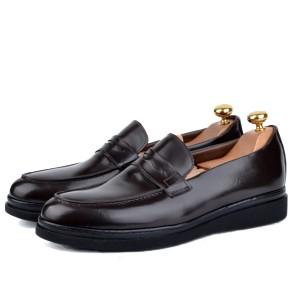 Chaussure classique en cuir démasquable Marron- Semelle Extra-light confortable LO-095-M