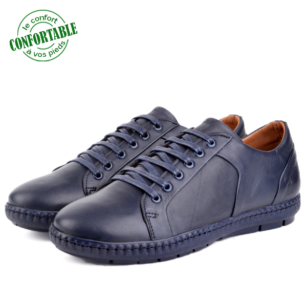 Baskets Confortables 100% Cuir Bleu LO-B040