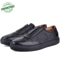 Baskets Confortables 100% Cuir Noir LO-N01