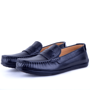 Mocassin confortable 100% Cuir Noir NJ-051N