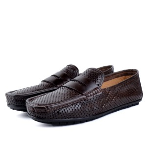 Mocassin confortable 100% Cuir Marron LO-202