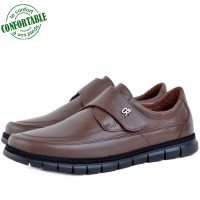 Chaussures Médicales 100% Cuir EXTRA Confortable marron KW-318MN