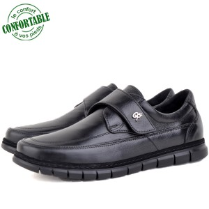 Chaussures Médicales 100% Cuir EXTRA Confortable noir KW-318NN