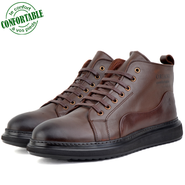 Bottines Homme confortable 100% Cuir Marron kw-802M