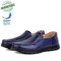 Chaussures Médicales confortables 100% cuir Bleu NJ-3025B