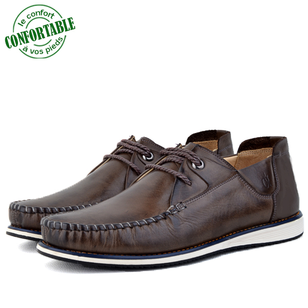 Mocassins confortables 100% Cuir Marron NJ-3026M