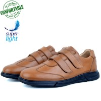 Baskets Homme Médicales 100% Cuir EXTRA Confortable Tabac NJ-5068T